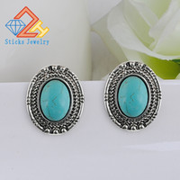 Wholesale Opal Drop Earrings - New Lady (1pair   lot) Oval Alloy Turquoise Earrings   Ear Needles Heavy Drop Shipping