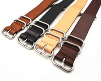 Wholesale Cow Leather Watches - Wholesale-1PCS High quality 18MM 20MM 22MM 24MM Nato strap genuine cow leather Watch band NATO straps zulu strap watch strap