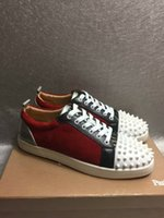 Wholesale Spikes Shoes For Men - 2017 New Hot Sale Suede Spikes Lace-Up Casual Flats Sneakers Red Bottom Luxury Shoes Genuine Leather Sport Running Shoes For Man and Woman