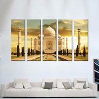 Wholesale Sunrise Wall Art Home Decor - LK5136 5 Panel Canvas Print Wall Art Painting For Home Decor,White Marble Taj Mahal Palace In Agra India On Sunrise India Uttar Pradesh Mode