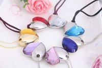 Wholesale Necklace Pen Drive Usb - 2016 Heart Shaped USB Crystal Pen Drive 4GB 8GB 16GB USB 2.0 Stick From China USB Flash Drive Factory