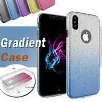 Wholesale Tpu Shiny Gel Case - 3 in 1 Gradient Glitter Bling Shiny Flexible Ultra Thin Soft TPU Gel Rubber Transparet Cover Case For iPhone X 8 7 Plus 6S Samsung Note 8 S8
