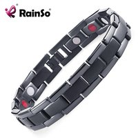 Wholesale East Relief - Rainso Men Jewelry Pain Relief Bracelets Titanium Bracelet In PVD Black With Magnets Ion And FIR bracelets & bangles For Men