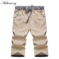 Wholesale Knee Length Linen Trousers Mens - Wholesale-Shorts Men 2016 Summer Fashion Mens Shorts Casual Linen Bermuda Masculina Leisure beach Trousers Knee Length Shorts homme SP260