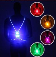 chalecos de seguridad reflectantes al por mayor-5 colores LED corriendo chaleco cinturón de alta visibilidad con cinturón reflectante para correr de seguridad y ciclismo CCA7439 100pcs