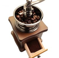 Wholesale Quality Coffee Machines - Classical Wooden Mini Manual Coffee Grinder Stainless Steel Retro Coffee Mill High quality Porcelain Movement