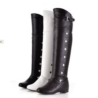 Wholesale Over Knee Tight Boots - Autumn new tight-high boots over the knee women winter knight boots leather warm wedge casual shoes