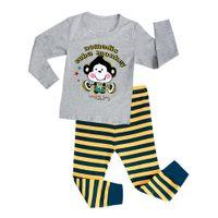 Wholesale Monkey Boy Top - 6 sets 2016 Kids Pajamas sets Monkey Cartoon Long sleeve Tops pants Homewear Suit Girls Clothes Children Baby Boys Girls