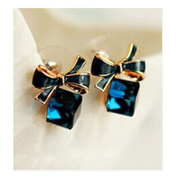 Wholesale lovely gifts for lover girl - 2017 Fashion Lovely Blue Lady Bow Crystal Cubic Ear Stud Earring Gift For Lover Girls ne424