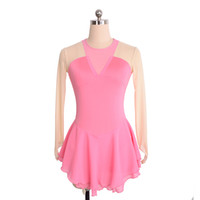 Wholesale red skating dresses for sale - Group buy Full Sleeve Pink Skating Training Dress Autumn Collection Simple Design Dress Competition Girls Dress Price