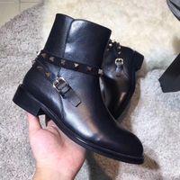 Wholesale Short Rainboots Women - new~u802 black genuine leather motorcycle short boots flats luxury designer elle