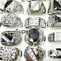 Wholesale Enamel Alloy Ring - Fashion Enamel Silver Plated Finger Rings Lot For Men Wholesale Jewelry Bulk Packs LR009 Free Shipping
