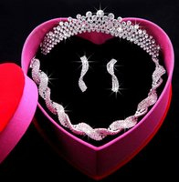 Wholesale Tiara Necklace Set Pearl Crystal - Bridal crowns necklace Headbands Hair Bands Headpieces Bridal tiaras Wedding Jewelries Accessories Silver Crystals Rhinestone Pearls HT0145
