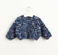 Wholesale Girls Wing Top Shorts - New Autumn Baby Girls Short Sweater Kids Children Bat-wing Sleeve Knitted Tops Pullovers Girls Knitwear Sweaters