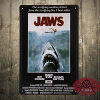 Wholesale Vintage Poster Store - JAWS Movie Vintage Metal Poster Wall Decor Retro Store Bar Tin Sign Art E-58 Mix Order 20*30 CM 160909#