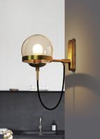 aydınlatma modo toptan satış-Yeni Cam Duvar Lambası Modern ışık Metal Duvar aplik Demir modo duvar aydınlatma cam gölge bronz siyah renk modu