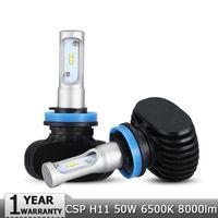 Wholesale Audi Led Headlamp - H11 LED Car Headlight CSP Chips 50W 6500K 8000lm Fog Light Bulb Auto Headlamp for Audi BMW Ford Toyota Honda Hyundai
