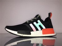 Boxing sport shoes hong kong - 2017 Original NMD R1 Hong Kong BB4297 Real Boost Black Red Running Shoes for Men Fashion Casual Shoe Cheap Sports Sneakers