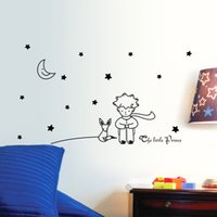 Wholesale Black Star Stickers Small - Creative 96*42cm Stars Moon The Little Prince Fox Graphic Wall wall stickers baby kids Room living room nursey home decor PVC&%