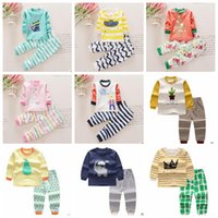 Wholesale Girl Summer Short Pant Kids - Baby Clothes Kids Cotton Outfits Boys Cartoon Fashion T Shirts+Pants Suits Girls Tops Pants Clothing Sets Animal Print Long Sleeve Set B3110