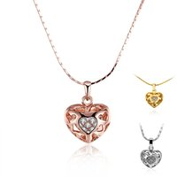 Classic Hollow Heart Shining Colar de pingente de cristal Rose Gold Yellow 18K Gold Imitation Rhodium Plated Snake Chain Jewelry for Lover Gift
