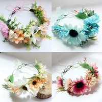 Wholesale Wreath Sunflower - Bride Wreath garland Sunflowers Floral wedding decoration Fashion beach photography photo accessories spot headdress Headband Wreath C2276