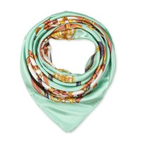 Wholesale Match Color Paint - 90cm*90cm National Bohemian Style Chain Painted color matching women Imitated silk satin large square scarf Scarves Shawl Hijab