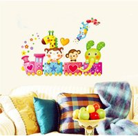 Paper Wallpapers Waterproof Study Girl Elephant Giraffe Monkey Train Animal Wall Decal Sticker Vinyl Art Kids Room