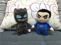 Wholesale Superman Bear Teddy - Kids Batman Plush Toys Cartoon Stuffed Animals 20cm Superman Soft Doll Movie Character Doll 10pcs