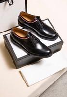 dantel düğün ayakkabısı boyutu toptan satış-Orijinal Kutusu Yeni Varış erkek Rahat Loafer'lar Hakiki Deri Lace Up Elbise Ayakkabı GG Erkekler Düğün Ayakkabı Boyutu 38-45