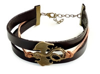 Wholesale Dragon Leather Bracelets - Hip Hop Jewelry Choker Necklaces Game of Thrones Dragon Leather Bracelet - Daenerys Targaryen - Antique Bronze