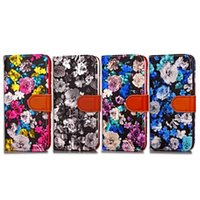 Wholesale Iphone Case Pearls Flip - Flower Floral Rose Flip Wallet Leather Case For Iphone X 8 7 Plus I7 Samsung Galaxy NOTE 8 Pearl Peony Card Stand Pouch Phone Cover 50pcs