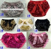 Wholesale Wholesale Birthday Bloomers - 2016 New Bling gold Sequin pom pom Diaper Cover with bow Baby Sparkle Birthday pom pom Bloomer glitter gold Sequin Bloomers photo prop