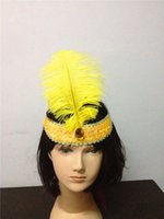 Wholesale Fantasy Feathers - Flapper Feather Headband 1920's Flapper Sequin Charleston Costume Headband Band Party mixed more colors