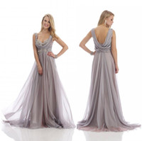 Wholesale Empire Waist Mother Bride - 2016 New Gray Beach Mother of the Bride Dresses Sweetheart Appliques Empire Waist Backless Floor Length 30D Chiffon Summer Mother Gown Cheap