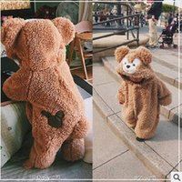 Wholesale Hooded Bear Jumpsuit - INS Toddler kids Duffy Bear rompers Baby velvet bear ears hooded jumpsuit Infants zipper loose thicken rompers Children lovely clothes C1955