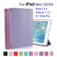 Wholesale Transparent Cover Ipad Mini - Silk Skin Smart Cover for iPad Mini 2 3 4 Ultral Slim PU Leather Stand Case 9.7 inch iPad Pro iPad Air 2 Folding Transparent Clear Covers