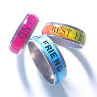 Wholesale Red Titanium - Men Women Colorful Ring Blue Red Best friend Letters Titanium Steel Wedding Band Ring Width 6mm Size 6-13 Gift S1645