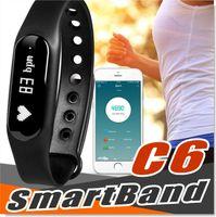 calificación ip65 al por mayor-Rastreador de fitness C6 pulsera inteligente Bluetooth 4.0 monitor de ritmo cardíaco llamada SMS recordatorio IP65 mini banda impermeable con pantalla OLED con caja
