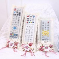 Wholesale breast protectors - Wholesale- 1PC Lace Fabric Flower TV Air Conditioning Remote Control Cover Storage Bags Case Remote Control Dustproof Protector Cover