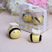 Wholesale Honeybee Shakers - Ceramic Mommy and Me Sweet as Can Bee Ceramic Honeybee Salt & Pepper Shakers Baby Shower Favors and Gifts 100Set Lot=200pcs lot