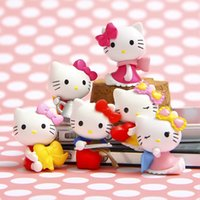 Wholesale Wedding Figurines Gifts - 6pcs Kawaii Hello Kitty Figures Dollhouse Decor Small Fairy Garden Miniatures Terrarium Figurines Bonsai Gnomes Jardin Gift Home Accessories