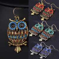 Wholesale Hot Selling Items Jewelry - 2016 Bohemian Colorful Owl Crystal Rhinestones Allergy Free Fish Hooks Earrings Dangles Chandelier Jewelry Blue Red Hot sell Items