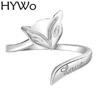 Wholesale Ring Fox - HYWo Fox Ring 925 Sterling Silver Rings with Women Wedding & Party Fashion Rings Fit Pandora love open design Prevent allergy wholesale