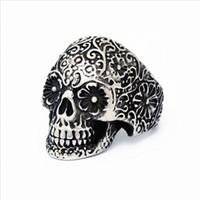 Wholesale Skulls Punk Rock Rings - wholesale New 50PCs Men's Stainless Steel Silver Punk Rock Gothic Skull Biker Jewelry Rings new arrival