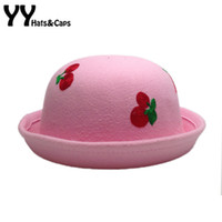 Chapeu Bowler Kaufen -Kinder Wolle Fedoras Hüte Stickerei Kirsche Vintage Bowler Hut Kinder Winter Runde Trilby Hut Bucket Caps Chapeu Sombrero YY60541