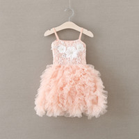 Wholesale Girls Tiered Suspender Dress - Girls party dress new children beaded flowres dress girls lace suspender tiered tulle tutu dresses kids pink princess dress A9360