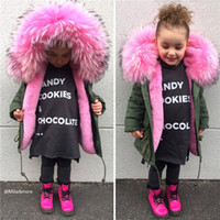 Wholesale Baby Girl Red Fur Coat - Winter Outerwear Kids Parkas Faux Fox Fur Liner Detachable Baby Coats Thicken Warm Toddler Boys Girls Clothes Black Red