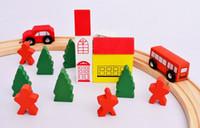 Wholesale Wooden Train Track Cars - Wooden Tracks Train Set Cars Buses Bridges City Railway Road Kids Ploy Toy