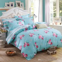 Wholesale Linen King Size Bedspread - Elegant Floral Bedding Set Polyester Cotton Bed Linen Sets 4pcs Bedspreads Kids Twin Full Queen King Size Blue Duvet Cover Bed Sheet Set